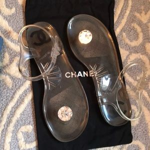 Chanel Transparent Toe Jeweled Ankle Strap Sandals